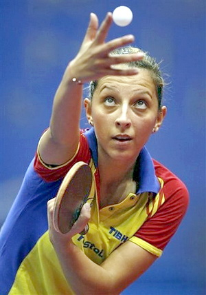 Romania's Elizabeta Samara serves the ball to Li Jiao from The Netherlands during their Women's Team Final game at the European Table Tennis Championships, in Gdansk, Poland, Wednesday, Oct. 12, 2011. (AP Photo/Wojtek Figurski) --POLAND OUT--